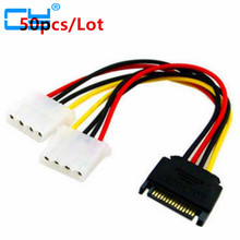 50pcs/Lot SATA to IDE Connector Power Cord SATA Power to IDE Power Adapter Cable SATA 15pin Male to 2 Large 4pin Power Cord(China)
