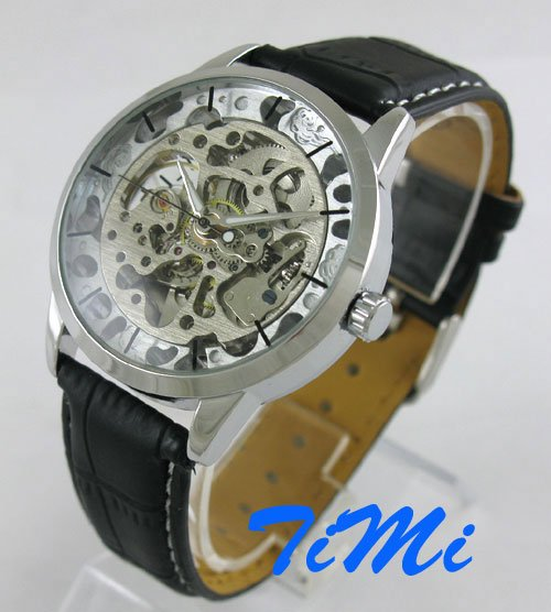 Skull Mens wristwatch AUTO Mechanical Skeleton Black Leather Watch<br><br>Aliexpress