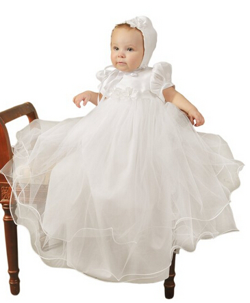 BABY WOW White Baby Girl Christening Gowns + Hat for 1 Year Birthday Dress  Baby Girls Dress Infant Party Frocks BABY WOW 90151<br><br>Aliexpress
