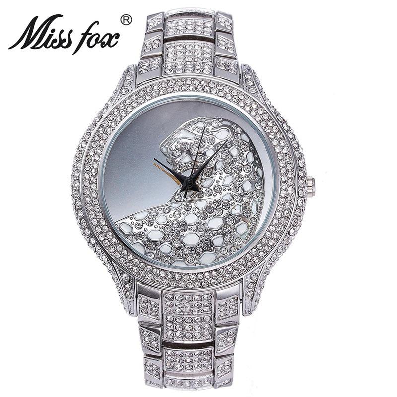 Miss Fox Top Brand Luxury Ladies Watches Leopard Watch Fashion Female Charms Golden Full Diamond  Women Wrist Dress Watches<br>