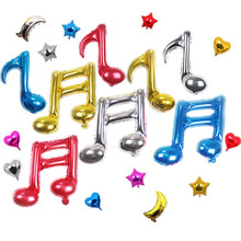 20pcs Music note balloons wedding birthday party decoration inflatable foil air balloon baby shower models mix colors balloon(China)