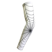 Spider Web basketball slip-resistant lengthen arm guards sunscreen sports protective sleeve forearm elbow pad (Color: White M)