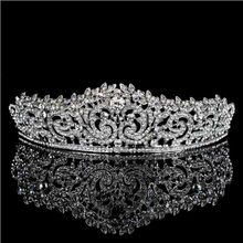 Top Quality Wedding Hair Accessories Rhinestones Bridal Crowns Headpieces Wedding Tiara Crown Prom Diadem Pageant Party Jewelry(China)