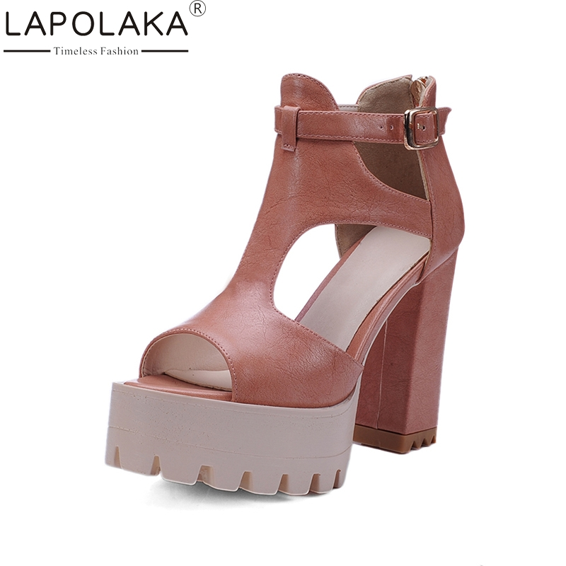 LAPOLAKA 2017 Cool Peep Toe Ankle Strap Large Size 32-42 Date Shoes Women Fashion high-heeled Sandals Gladiator Shoes<br>