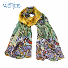 "Aishidis 100% Silk Oblong Scarf Wrap Shawl Van Gogh's Famous Oil Painting Art Works -""Irises"" 1890 Hand Rolled Hems"