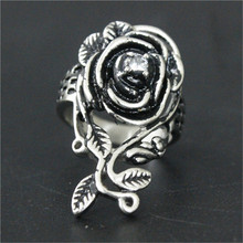 3pcs/lot New Clean Crystal Rose Flower Ring 316L Stainless Steel Jewelry Rose Cool Ring(China)
