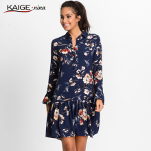 KaigeNina New Fashion Hot Sale Women Prairie Chic  Flower  Printing Cloth Flare sleeve Mid-Calf  knitting cotton Dress 18010