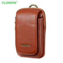 FLOVEME Retro Lichee Leather Mens Bag Travel Belt Loops Hip Bum Bag Wallet Purses Phone Pouch Case For iPhone Xiaomi
