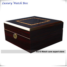 High Quality 6 Grid Gross Finish Wacth Case Wood Watch Box for Big Watches Best Gift for Christmas Birthday Gift GC02-LG4-06EX