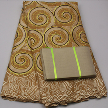 Ladies aso oke bridal dresses gold african swiss voile lace,african lace fabrics for wedding NA502B-5(China)