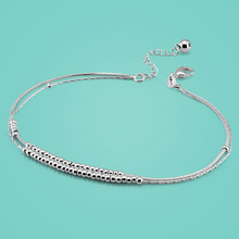 lady 925 sterling silver anklets Concise style Round bead chain women's body jewelry Solid silver chains birthday present