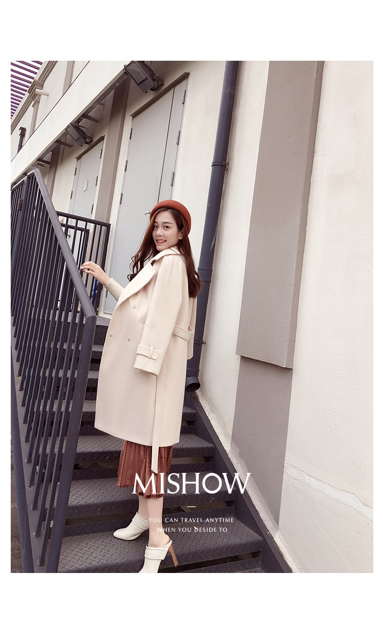 Mishow 19 autumn and winter woolen coat female Mid-Long New Korean temperament women's popular woolen coat MX17D9636 19