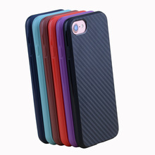 Carbon fiber back case for iPhone 7 6 6S Plus Business Style Slim Soft TPU Cover Black Blue Red Brown Purple