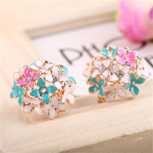 1pair Rhinestone Ear Stud Earring Mixed Elegant Flower Earrings For Women Lady Girl 4colors Select Fashion Jewelry