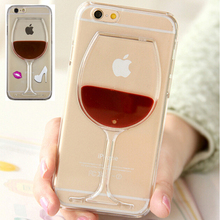 Phone Case For iPhone 6 6S Plus 7 7Plus Red Wine Cup Red Lips Liquid Stars Transparent Case 5 5s SE 4 4s Phone Cases Back Covers
