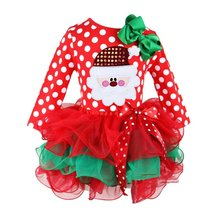 Christmas Cotton Red Long Sleeve Dress Girl Party Christmas Ball Gown Dresses Baby Girls Christmas Costumes