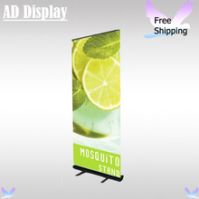 Wholesale 6PCS Black Color 80*200cm Standard Full Aluminum Advertising Roll Up Banner Display Stand With Vinyl Fabric Printing(China)