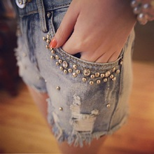 Women summer casual denim shorts fashion diamante and beaded hot sexy ripped jeans shorts for ladies