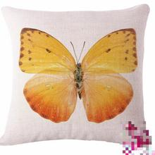 Free Shipping Custom Butterfly Printing Cotton Linen Sofa Throw Pillow Garden Chair Seat Waist Cushion Wholesale(China)