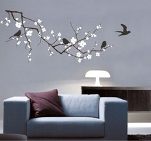 New 2017 Vinyl Fashion Tree Branch Cherry Blossom Wall Decal With Birds Wall Art Wall Stickers Home Decor Large Size 120*58CM