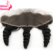 Atina Queen 13*4 Ear to Ear Lace Frontal Closure Loose Wave With Baby Hair Pre Plucked 10-20inch 100% Remy Human Hair Free Ship(China)
