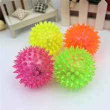 New 5pcs 6cm Stress Reliever Ball Flashing Light Spiky Massage Ball Stress Eases Tension Therapy Sport Toy Baby Ball Toy(China)