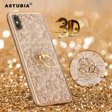 ASTUBIA 3D Gold Glitter Case For iPhone X Case Luxury Silicone Soft Gel Back Diamond Ring Phone Cases For iPhone X Stand Cover(China)
