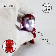 New Iron man LED Flashlight Keychina with sound action toy figures Iron man Keychain toys gift for child kids toys