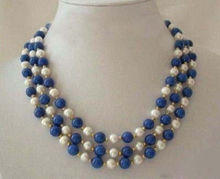 Fashion 3 rows natural white 7-8mm pearl blue 8mm lapis lazuli round beads necklace for women free shipping 17-19inch BV357