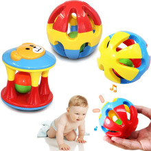 2pcs Baby Toy Fun Little Loud Jingle Ball Ring Develop Baby Intelligence,Training Grasping Ability Rattles Baby Toys 0-12 Months
