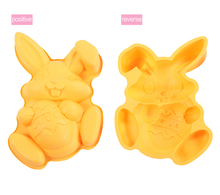Creative Bunny Holding Egg Shaped Silicone Cake Mold Easter Bunny Pastry Baking Tools M1560(China)