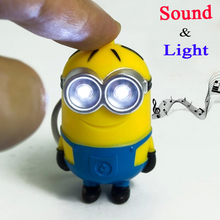 Cheapest New Minions Toys Cartoon Movie Despicable Me 2 3D Mini LED Keychain talk Minion PVC Action Figure Toys