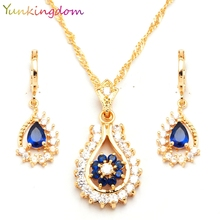 Yunkingdm Trendy Blue Zircon Crystal Jewelry Sets For Women Engagement  gold color necklaces & pendants Earrings BB0150