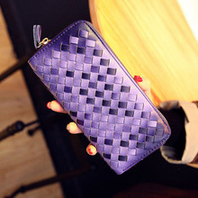 High Quality 2017 New Arrival Large Capacity Women Woven PU Leather Wallets Big Screen Mobile Phone Bag Fashion Coin Purse