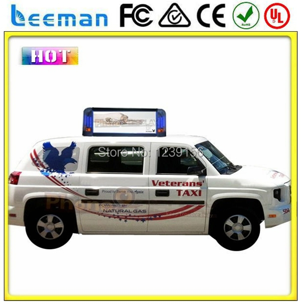 Leeman outdoor use HD advertising double sides self design shape LED taxi top sign P6 outdoor full color panel led display(China (Mainland))