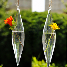 Hot New Cute Clear Glass Olive Shape 1 Hole Flower Plant Stand Hanging Vase Hydroponic Office Decor