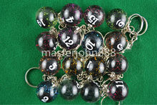 Lots of 16pcs Spark Pool Billiard Snooker Ball Keychain Keyring Free Shipping Wholesales(China)