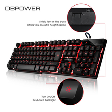 DBPOWER Russian/English Gaming Keyboard USB 3 Backlight Modes Floating Keycaps LED Backlit Teclado Gamer 19 Keys Conflict-free