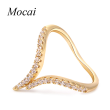 Latest Arrival Simple Easy Matching AAA Cubic Zirconia V Shape Small Gold Color Pinky Rings For Women Jewellery zk20(China)