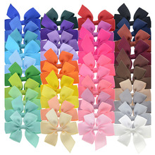 40PCS 3 inch Grosgrain Ribbon Child Hair Bows in Pure Color With Clips 40 Colors Small Bow Kids Barrettes Pony Hair Accessories