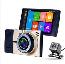 5 inch car DVR GPS navigation Android 1080P DVR video recorder dual lens Big truck gps navigation with free map 15m rear lens