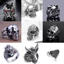 Men's Stainless Steel Fashion Dragon ring Gothic Punk Skull Head Biker Finger Rings Jewelry Size 8-10