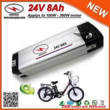 7S4P 18650 Li Ion Cells Silver Fisy Type Electric Bike Battery 24V 8Ah Ebike Lithium Battery Pack with Aluminum Case 2A Charger