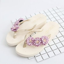 2017 Summer Korean Style Women Slides Cool Sandals Flower Ladies Flip Flops Pure Comfortable Home Cool Slippers Wedges Shoes(China)