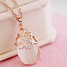 DCM Free Shipping Jewelry Rose Gold Color Opal Crystal Necklace Vintage waterdrop gift for women girls choker