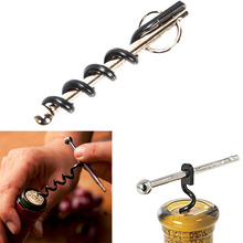 Creative Multifunctional Mini Outdoor Stainless Steel Red Corkscrew Wine Bottle Opener with Ring Keychain Bottle Opener