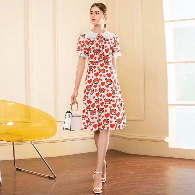 Cute Peter Pan Collar Cartoon Printed Knee Length Dress 2019 Hot Sale Summer Women Short Sleeve Patchwork Lace A Line Dresses