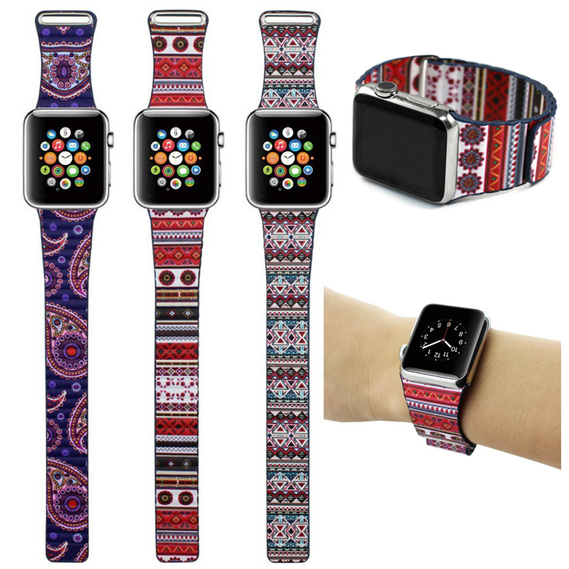 Bohemian Leather Loop Watchband for Apple Watch Bands 42MM / 38mm Strap Magnetic Stainless Steel Clasp for iWatch Band Bracelet<br><br>Aliexpress
