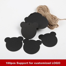 100Pcs/Lot black labels lace scallops head luggage wedding etiquette Rating DIY chain Blank hang tag Kraft Be customized(China)