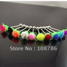 50pcs free shipping mixed colors rose tongue ring flower tongue nail Barbell Rings body piercing jewelry